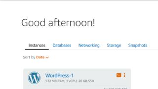 AWS-Amazon Lightsailのインスタンス画面