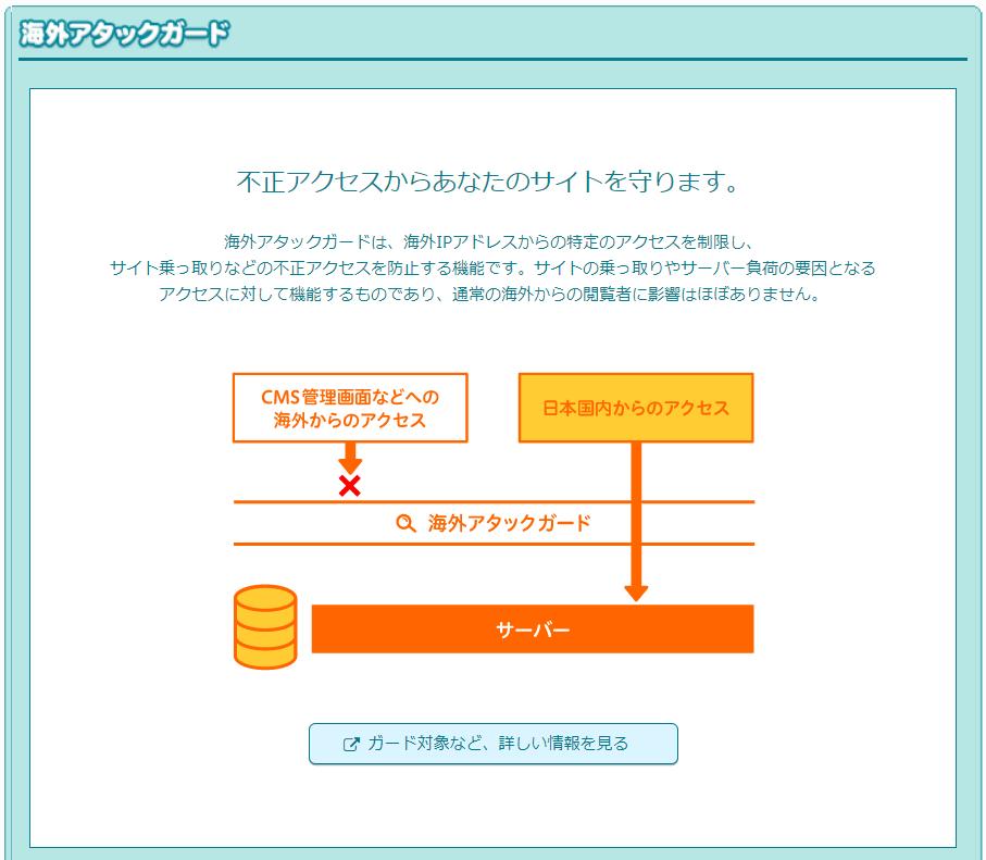 LOLIPOP!レンタルサーバーのセキュリティ機能、海外アタックガード